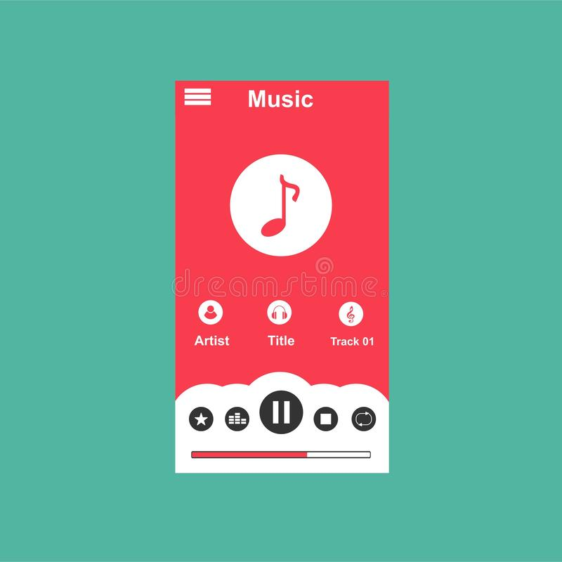 Media player application, app template with flat design style for smartphones, PC or tablets. Clean and modern - Vector royalty free illustration