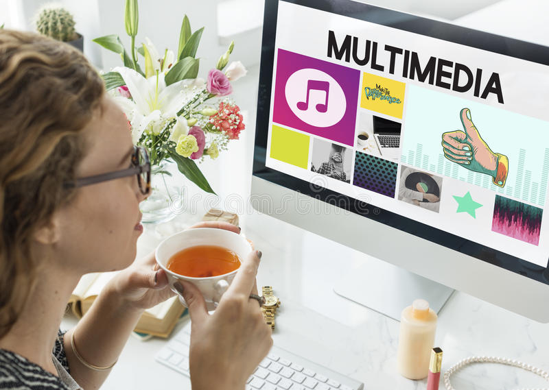 Media Player Audio Entertainment Streaming Concept royalty free stock image