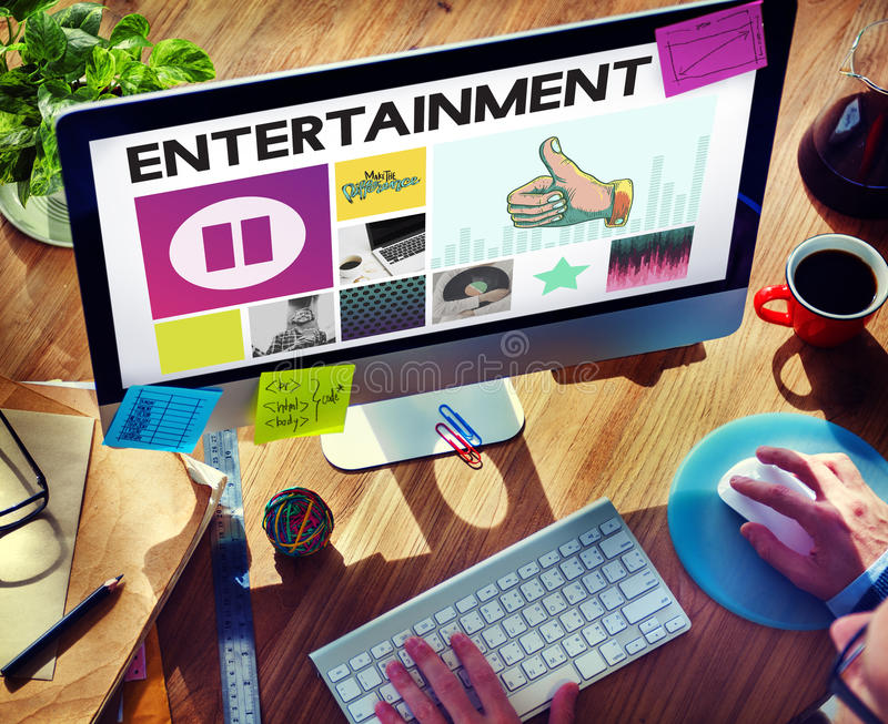 Media Player Audio Entertainment Streaming Concept. People Listening Media Player Audio Entertainment Streaming royalty free stock photography