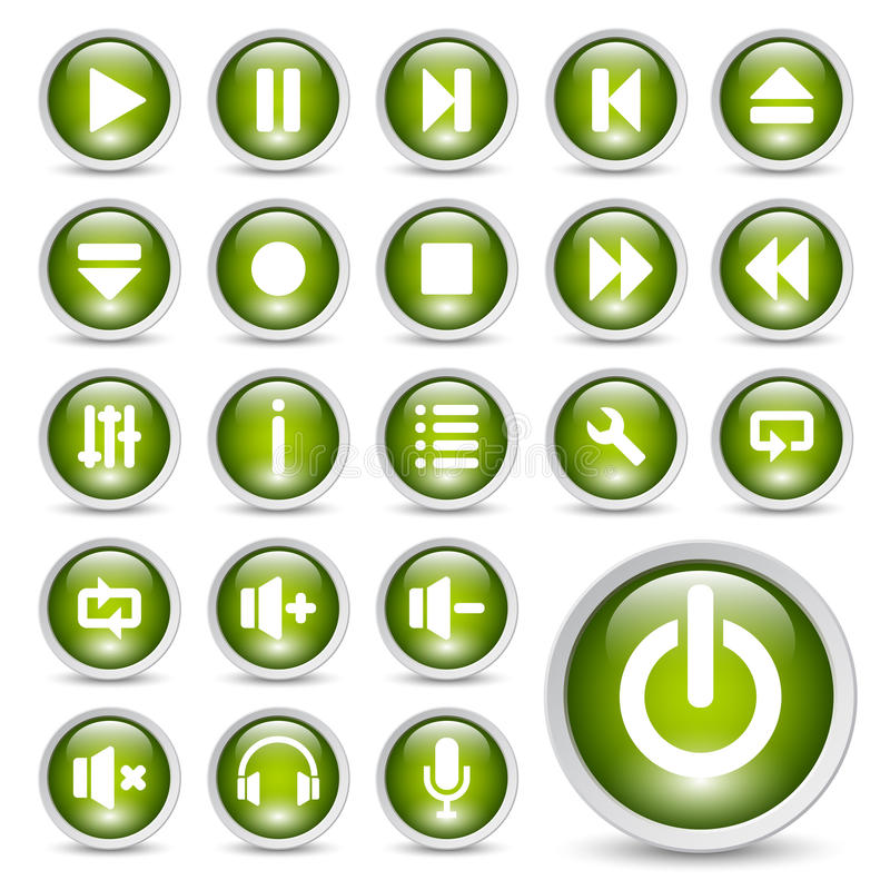 Media player buttons. stock illustration