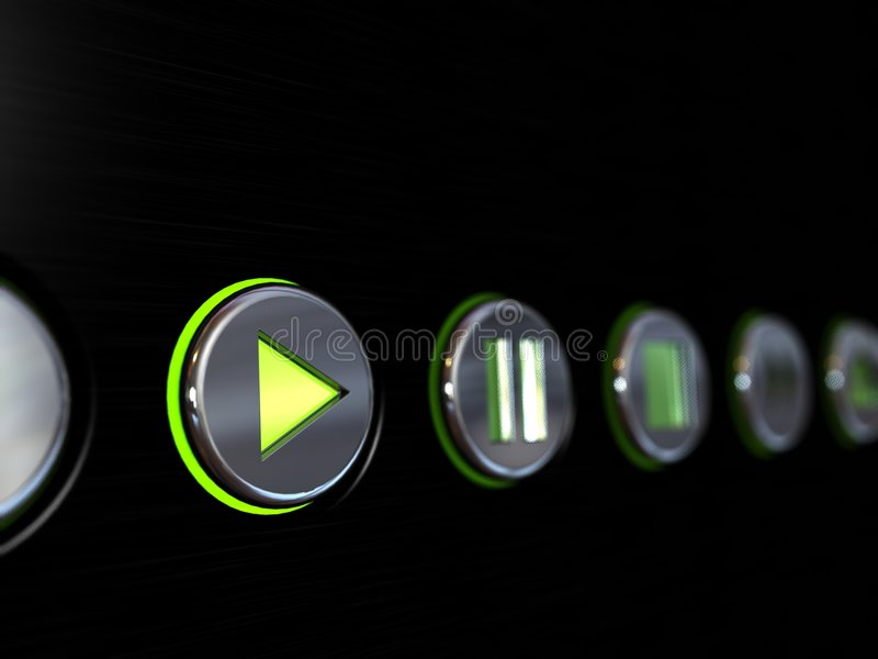 Media player buttons. On a brushed metal surface with the play button glowing as if turned on stock photography