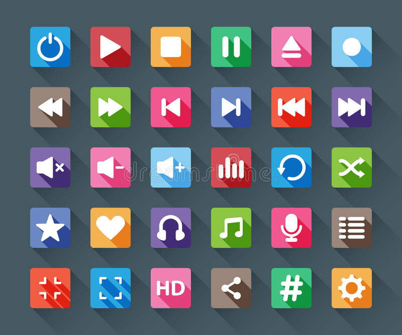 Media player buttons. Colorful paper media player buttons in flat long shadows stock illustration