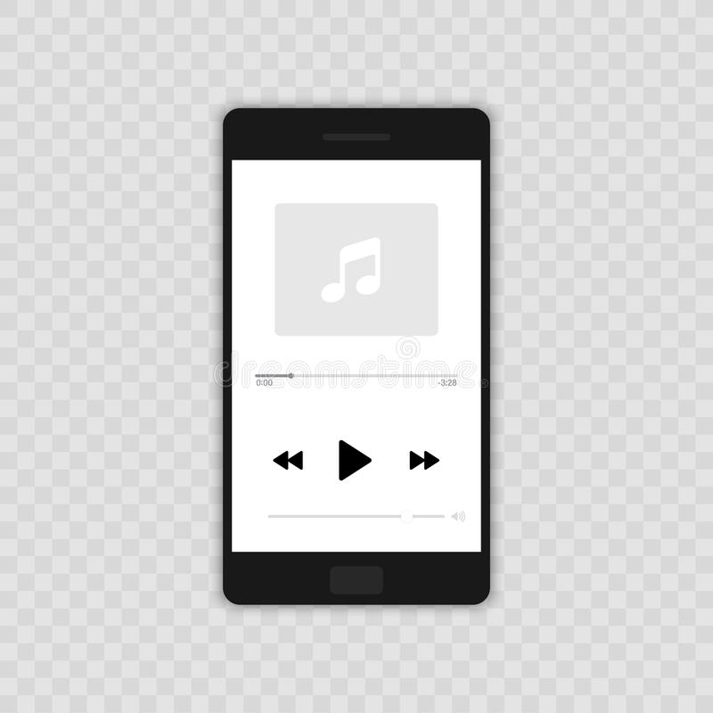 Media Player Conception plate de lecteur de musique de vecteur d'illustration mobile d'icône D'isolement sur le fond transparent illustration libre de droits