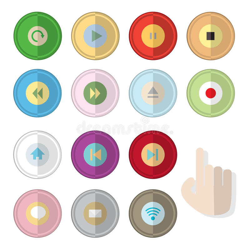 Media player control button flat icon with hand for click. Set of media player control button flat icon with hand for click vector illustration