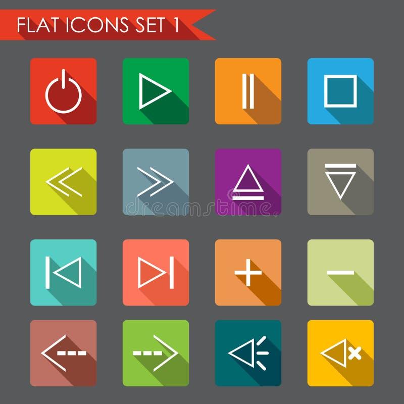 Media player flat icons. Set of media player icons. Flat Style illustration royalty free illustration