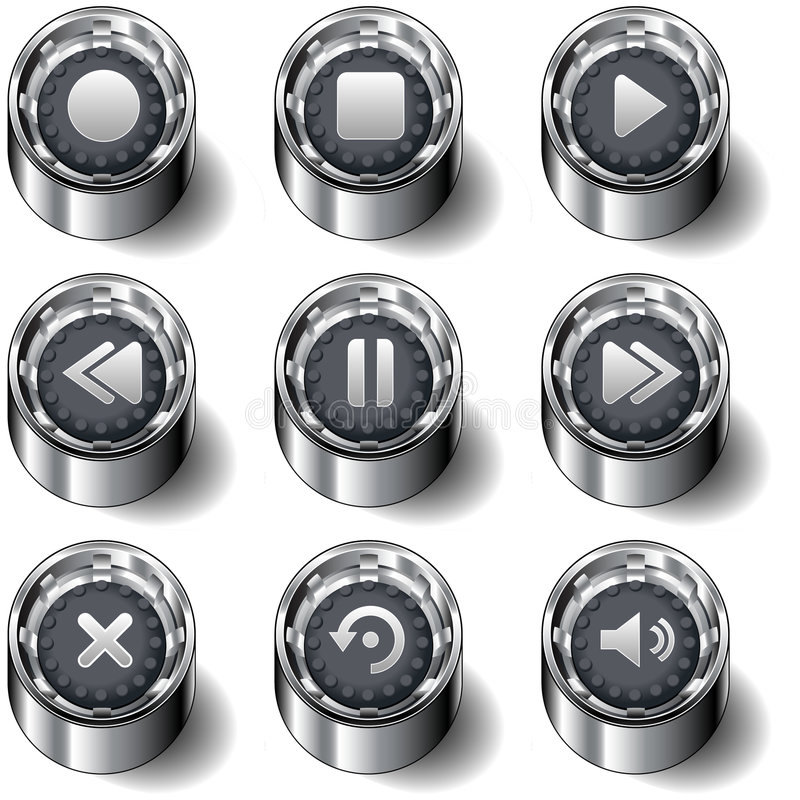 Download Media Player Icon Set On Vector Buttons Stock Vector - Illustration: 8831908