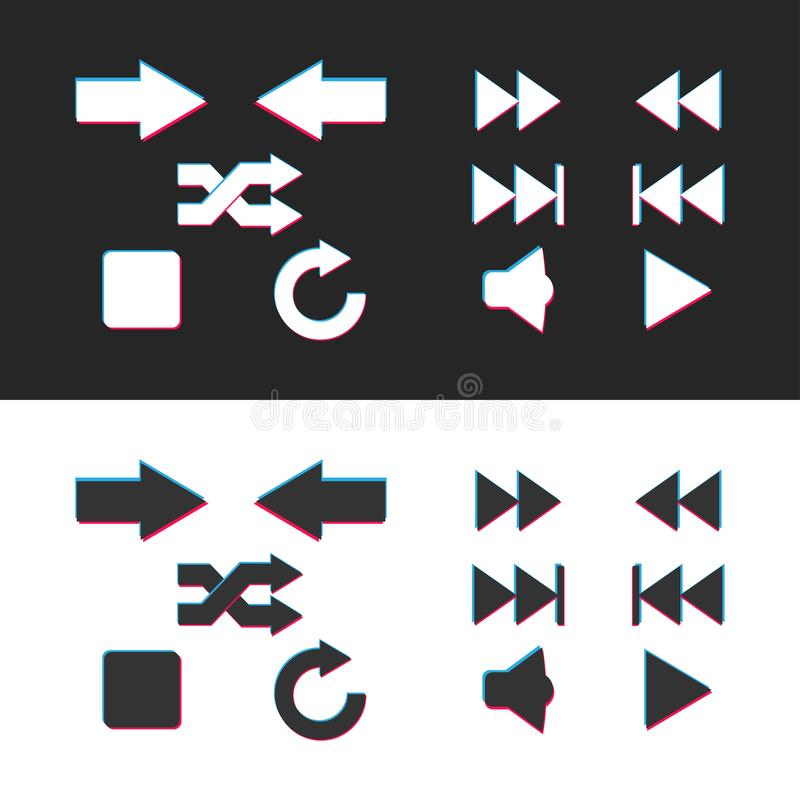 Media player icon set. Web internet design elements. Multicolor arrows sign icon set. Modern simple pictogram in contemporary royalty free illustration
