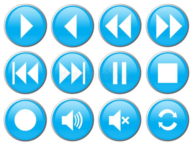 Media Player-Knöpfe für DVD/VCR/CD lizenzfreie abbildung