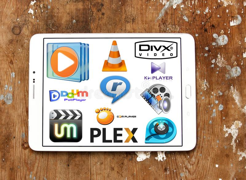 Media player programs icons. Icons and logos of media player programs on samsung tablet royalty free stock image