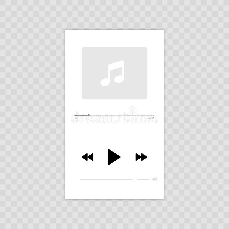 Media Player Projeto liso da ilustração móvel do ícone do vetor do jogador de música Isolado no fundo transparente ilustração royalty free