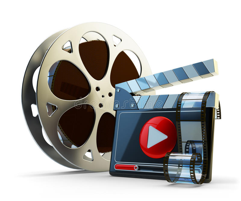 Media player and video clip production concept. Film reel and clapper board with play button on white background royalty free illustration