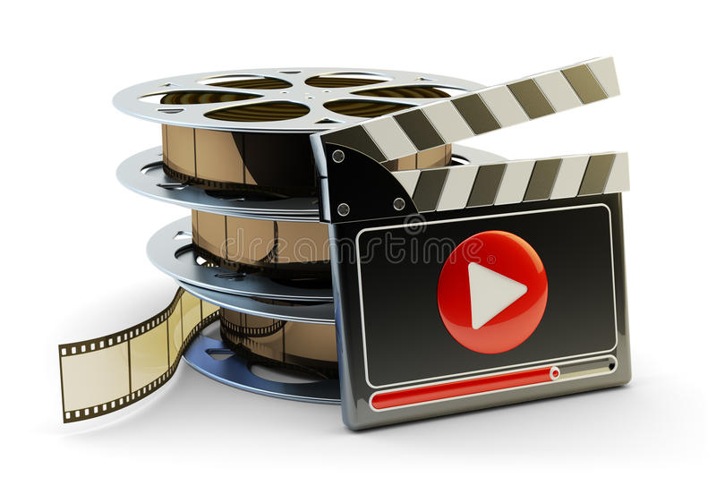 Media player and video clips production concept royalty free illustration