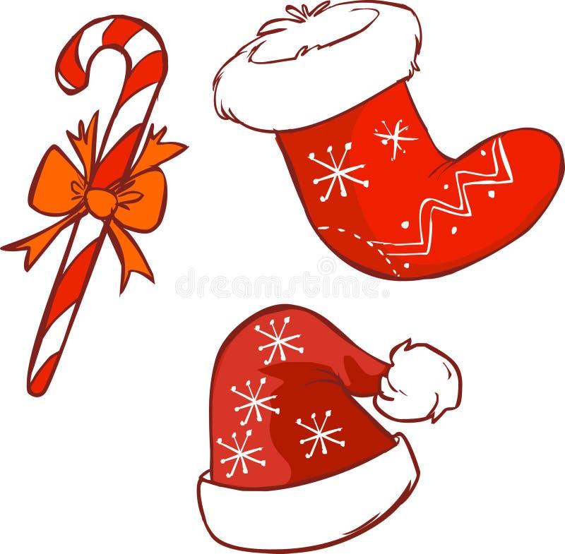 Media roja de la Navidad del sombrero y del bastón de Papá Noel libre illustration