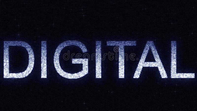 Media screen with glowing white and blue DIGITAL inscription, 3D rendering. Media screen with glowing white and blue caption royalty free illustration