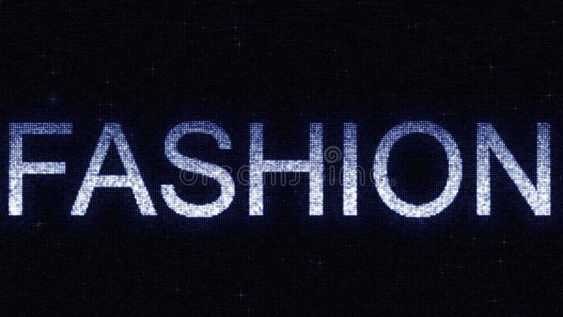 Media screen with glowing white and blue FASHION inscription, 3D rendering. Media screen with glowing white and blue caption stock illustration