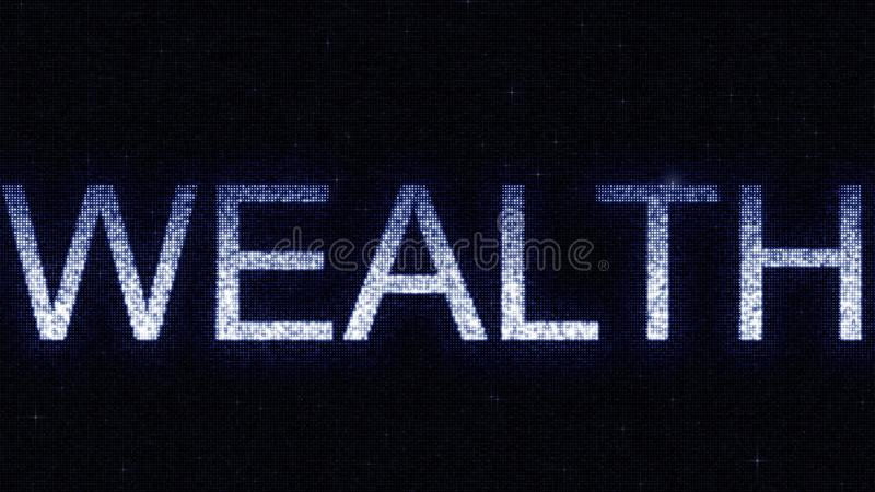 Media screen with glowing white and blue WEALTH inscription, 3D rendering. Media screen with glowing white and blue caption royalty free illustration