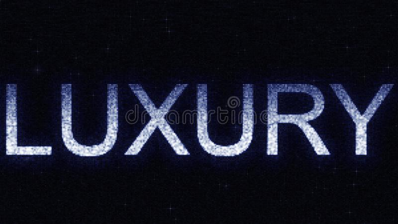 Media screen with glowing white and blue LUXURY inscription, 3D rendering. Media screen with glowing white and blue caption royalty free illustration