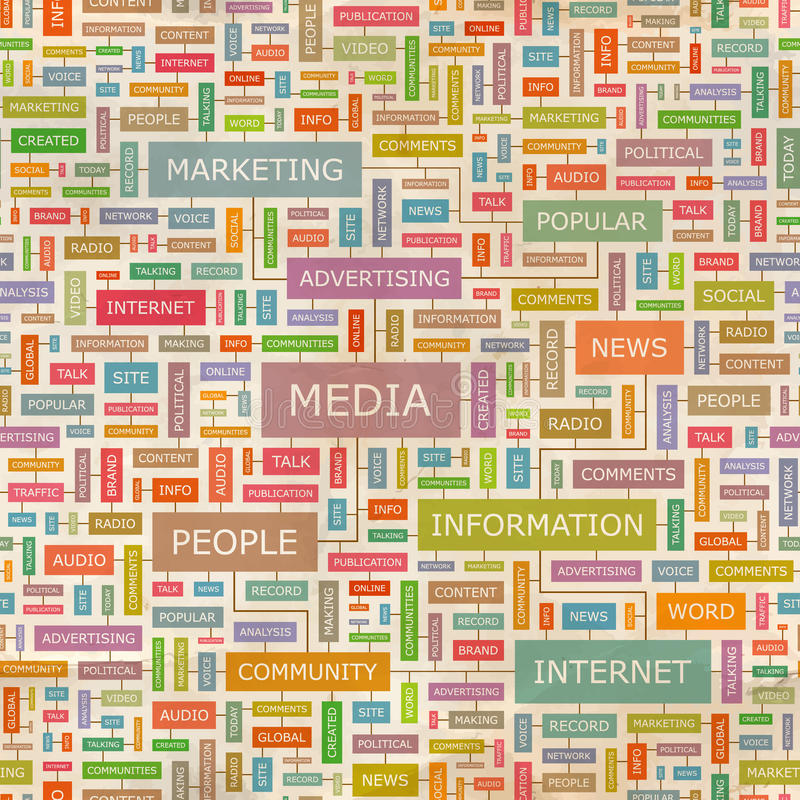 MEDIA. Seamless pattern. Concept related words in tag cloud. Conceptual info-text graphic. Word collage vector illustration