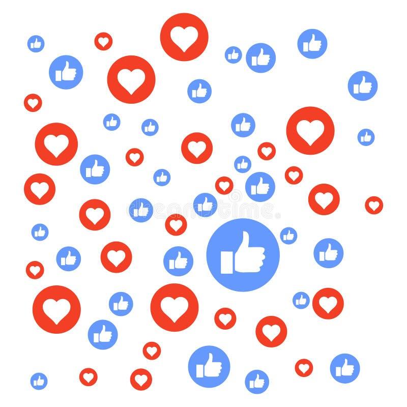 media sociaal als, liefde, het volgende, ontwerpvector, malplaatje royalty-vrije illustratie
