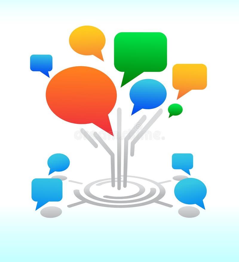 Media sociais. Bolhas do bate-papo do fórum da árvore ilustração royalty free