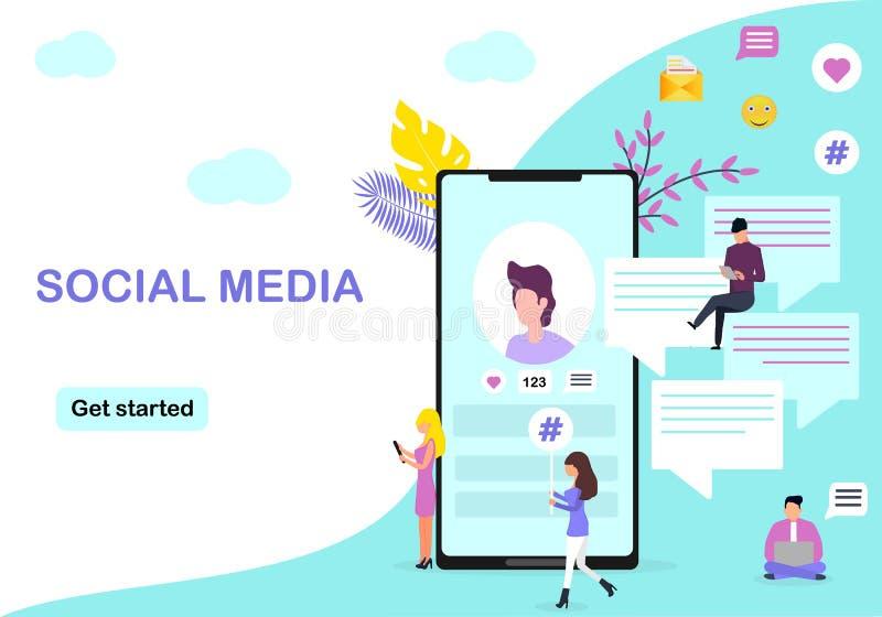 Media sociais ilustração royalty free