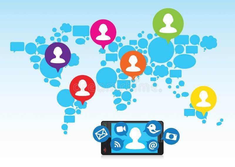 Media sociais e telefone de pilha ilustração do vetor
