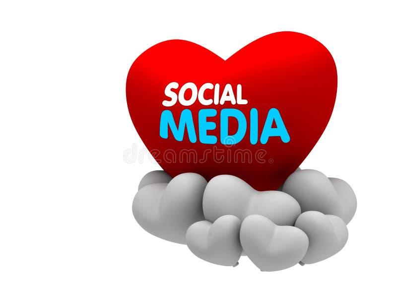 Media sociais no coração ilustração stock