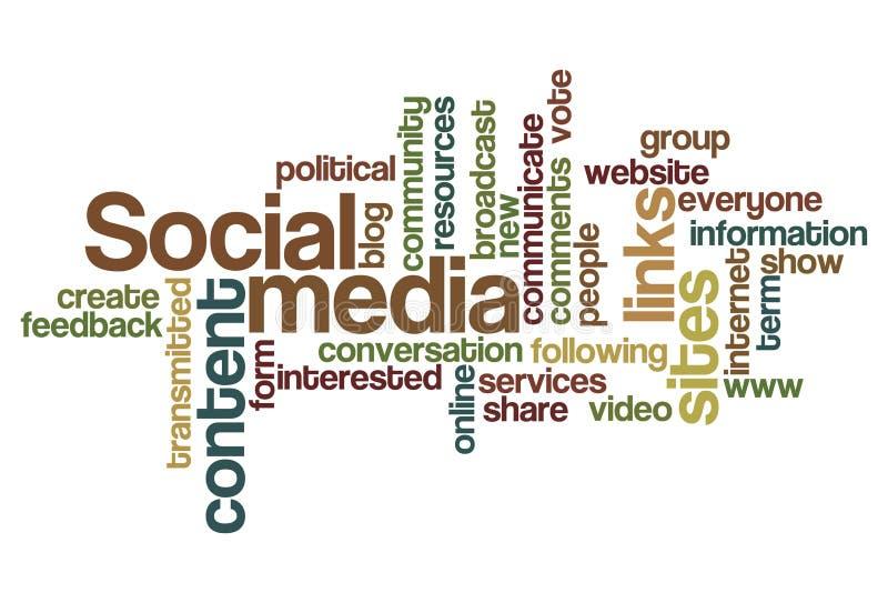 Media sociais - nuvem da palavra ilustração royalty free