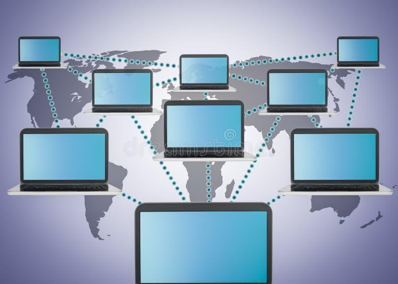 Media sociais que introduzem no mercado e rede do portátil ilustração stock