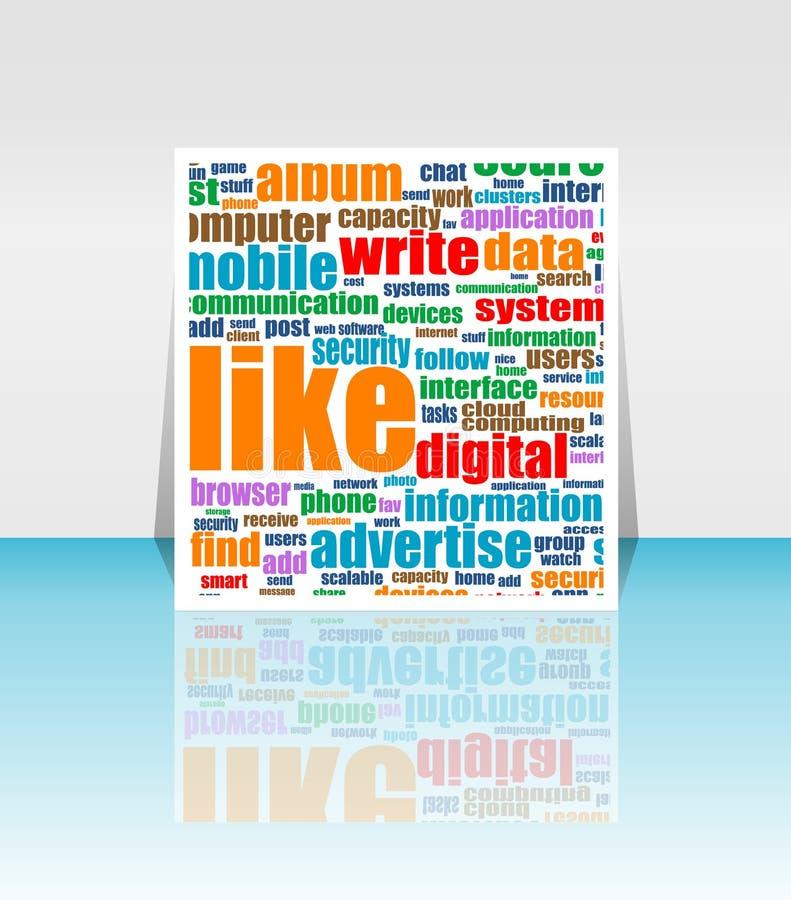 Media sociais que introduzem no mercado - nuvem da palavra ilustração do vetor