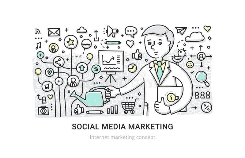 Media sociais que introduzem no mercado o conceito ilustração do vetor