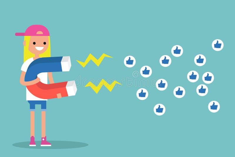 Media sociais que introduzem no mercado o conceito Menina loura nova que atrai o lik ilustração do vetor