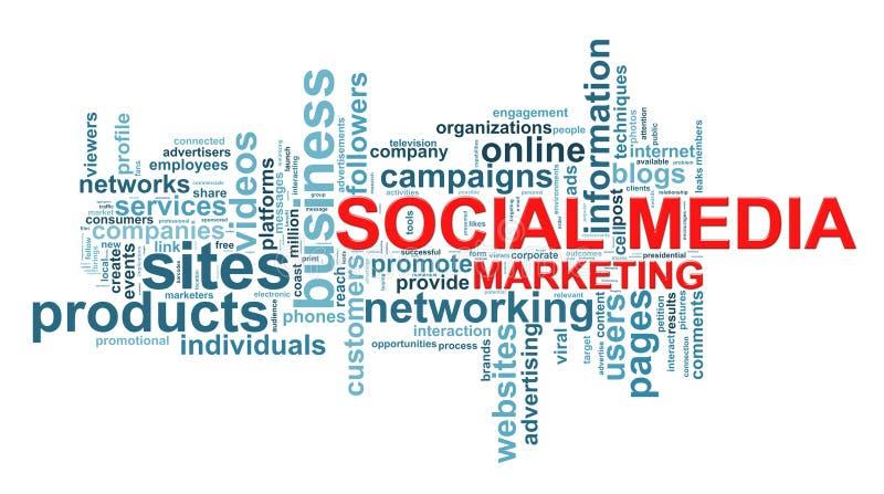 Media sociais que introduzem no mercado Tag da palavra ilustração stock