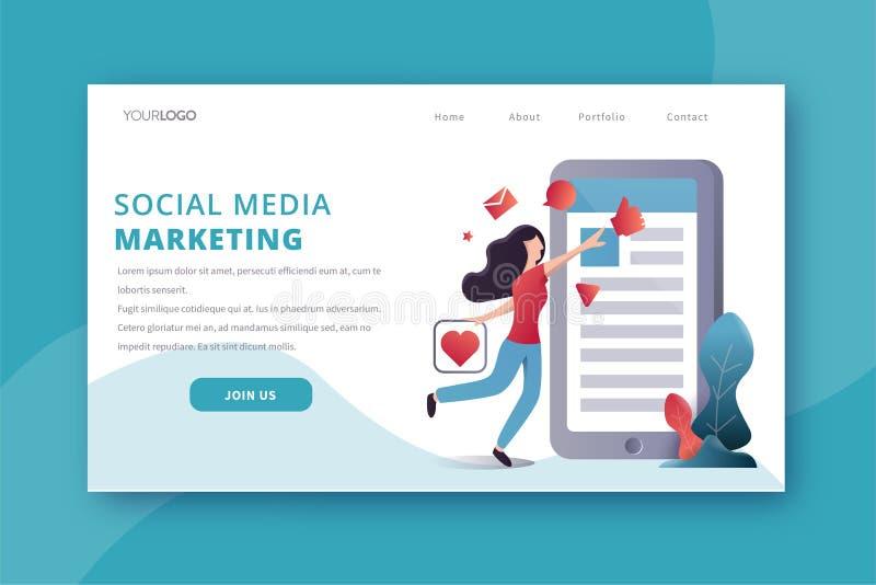 Media social d?barquant la page illustration stock