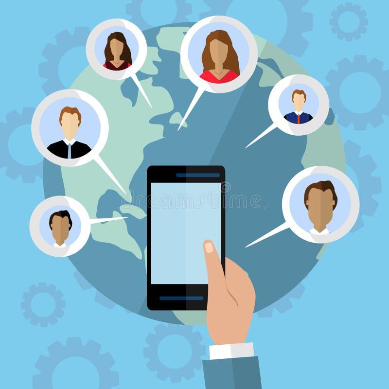 Media social et concept de télécommunication mondiale Illustration plate illustration de vecteur