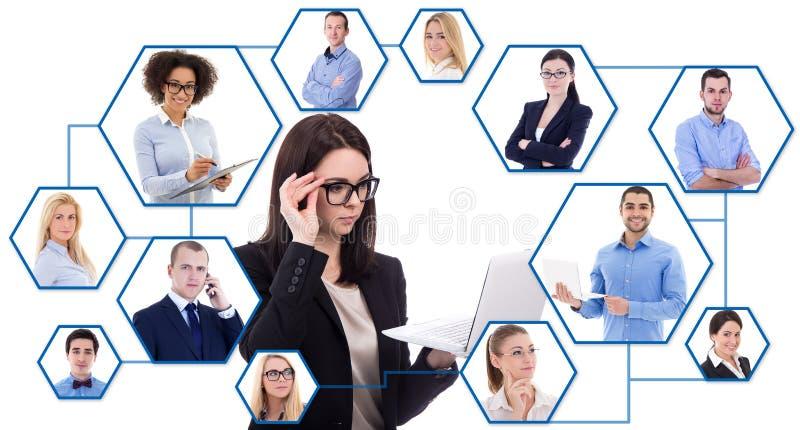 Media social et concept international d'affaires - jeunes affaires photos libres de droits