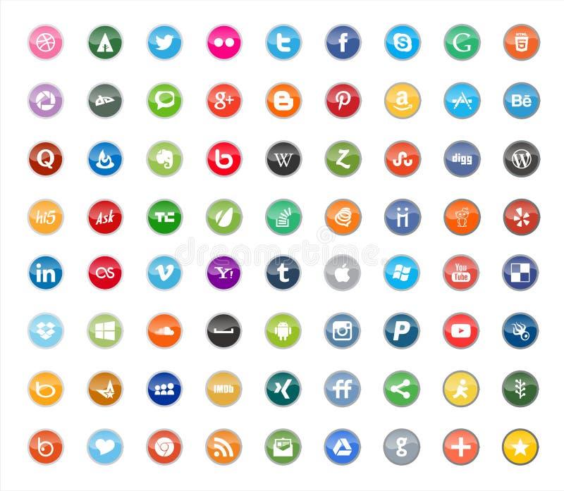 Media social et icônes plates de couleur de réseau illustration stock