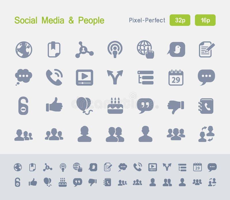 Media social et les gens   Icônes de granit illustration stock