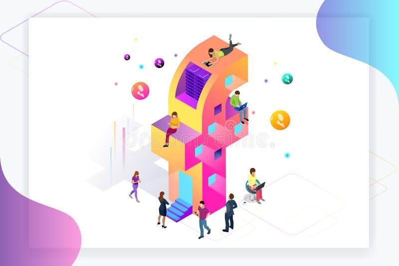 Media social isométrique ou concept social de réseau Les gens à l'aide d'un téléphone, d'un comprimé et d'un ordinateur portable  illustration stock