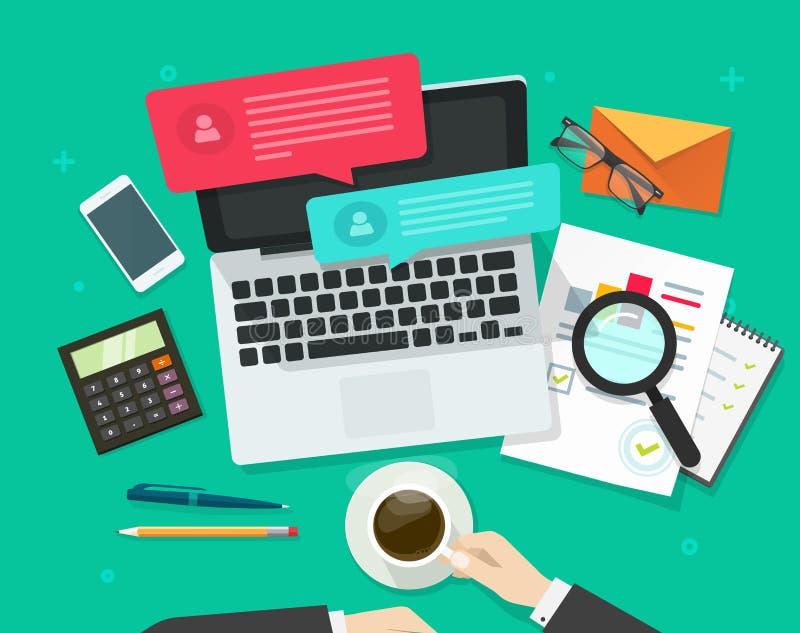 Media social lançant l'analyse sur le marché, dialogue en ligne, recherche de statistiques, lieu de travail illustration libre de droits