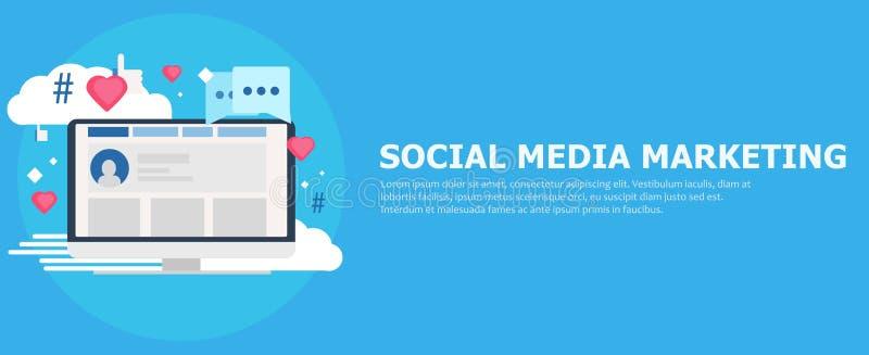 Media social lançant la bannière sur le marché Ordinateur avec des goûts, nuage, commentaire, hashtags illustration stock