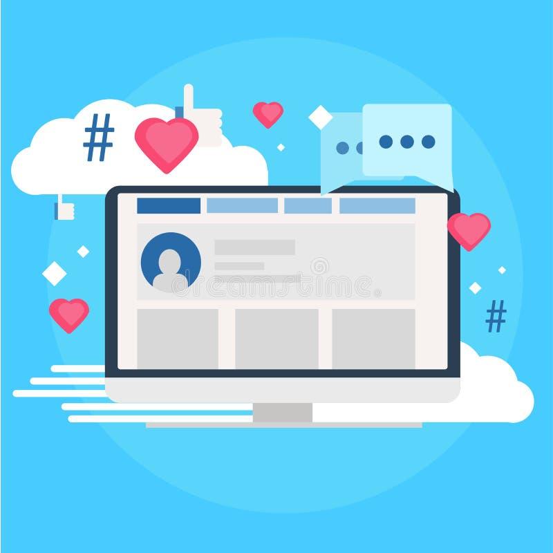 Media social lançant la bannière sur le marché Ordinateur avec des goûts, nuage, commentaire, hashtags illustration libre de droits