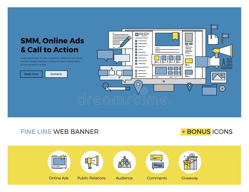 Media social lançant la ligne sur le marché plate bannière illustration de vecteur