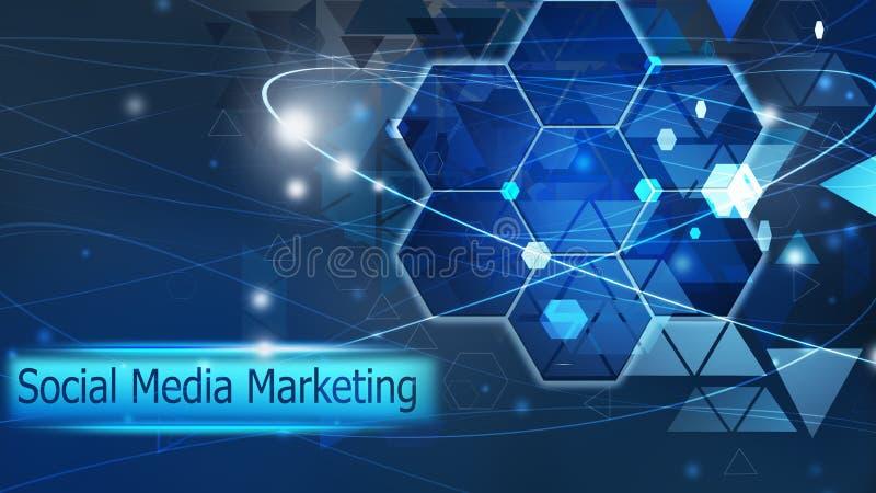 Media social lançant la solution sur le marché bleue de concept de futur abrégé sur fond illustration stock