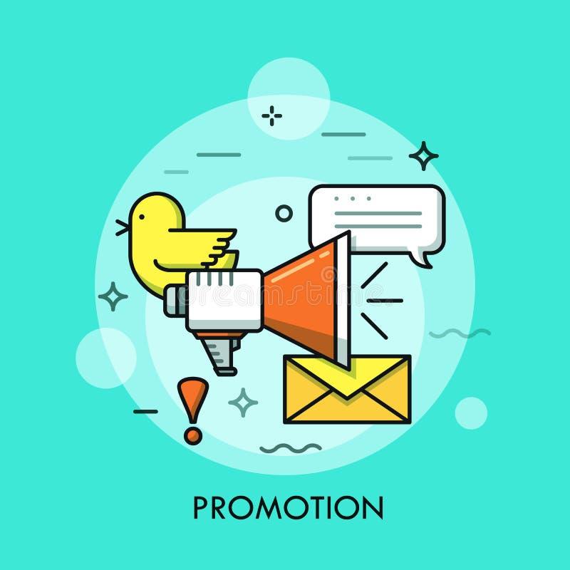 Media social lançant le concept sur le marché, icône de publicité d'affaires illustration de vecteur