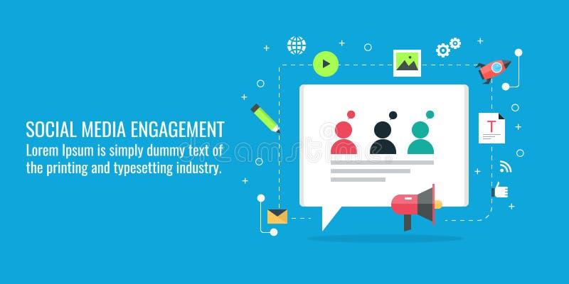 Media social lançant sur le marché, engagement social, mise en réseau sociale, contenu viral, commentaire, causerie, concept de m illustration de vecteur