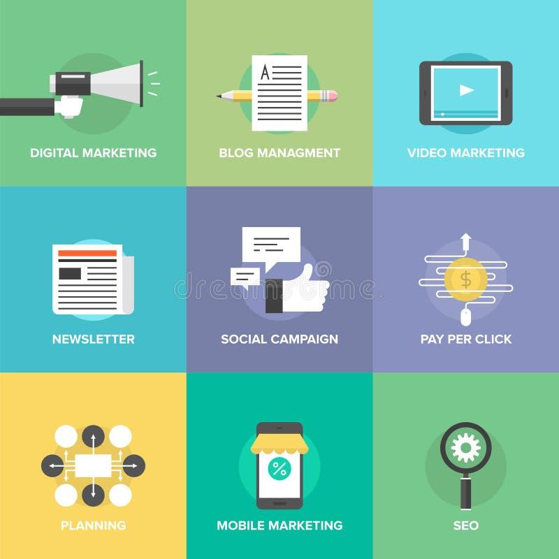 Media social lançant sur le marché et icônes plates de développement illustration stock
