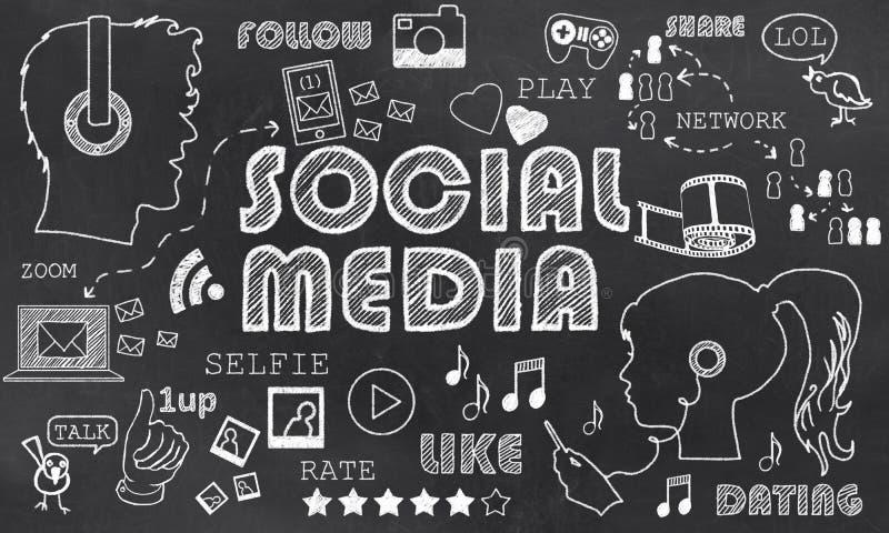 Media social sur le tableau noir illustration libre de droits