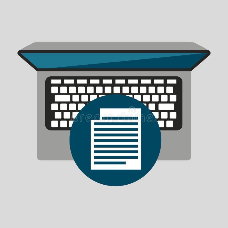 Media social travaillant de document d'ordinateur portable de personne graphique illustration libre de droits