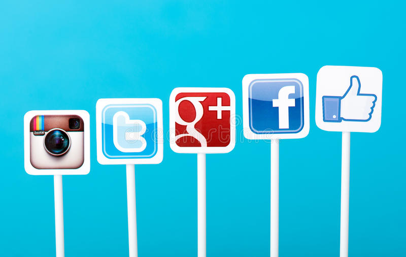 Media sociales que ponen concepto imagen de archivo